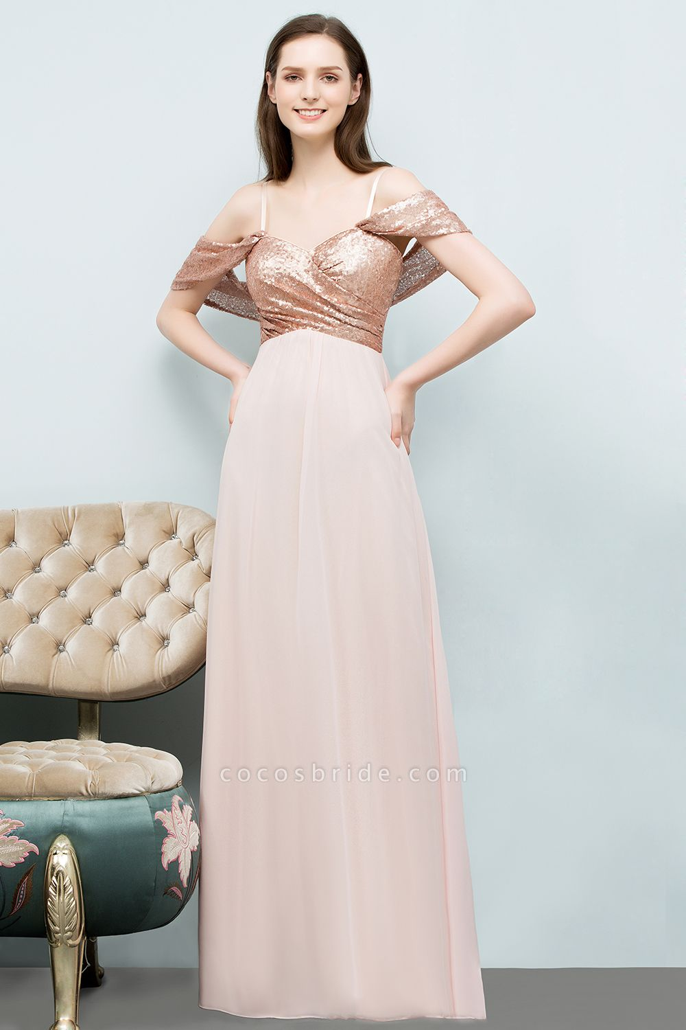A-line Chiffon Sequins Straps Sweetheart Sleeveless Floor-Length Bridesmaid Dresses