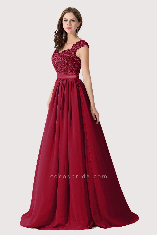 A-line V Neck Appliques Chiffon Bridesmaid Dress
