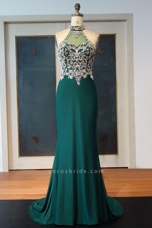 JOCELYNN   Mermaid Floor Length Halter Crystal Beading Prom Dresses