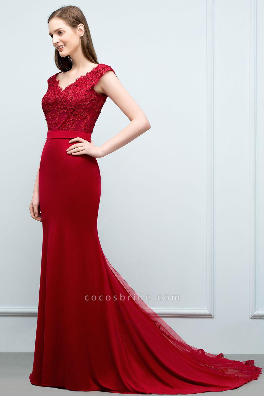 Affordable V-neck Stretch Satin Mermaid Evening Dress