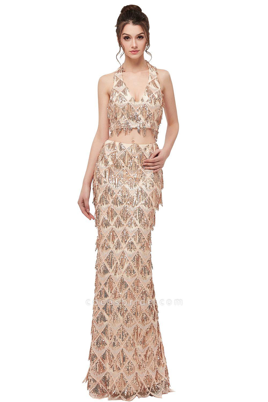 Chic Halter Chiffon Mermaid Evening Dress