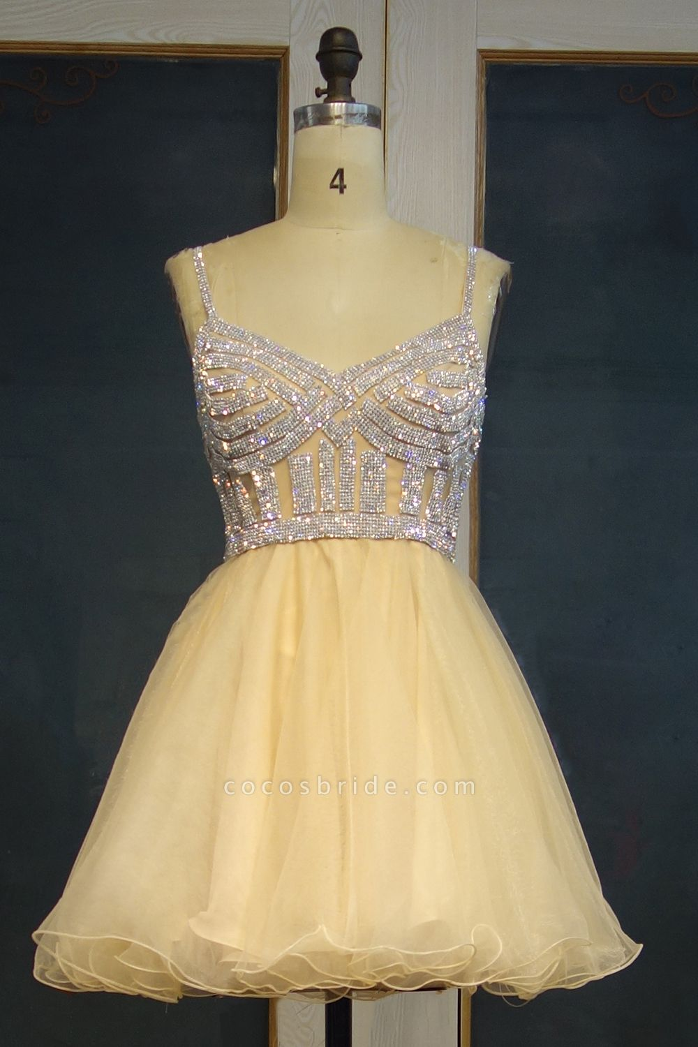 JEMMA | A-line Spaghetti Sweetheart Short Tulle Sequined Prom Dresses