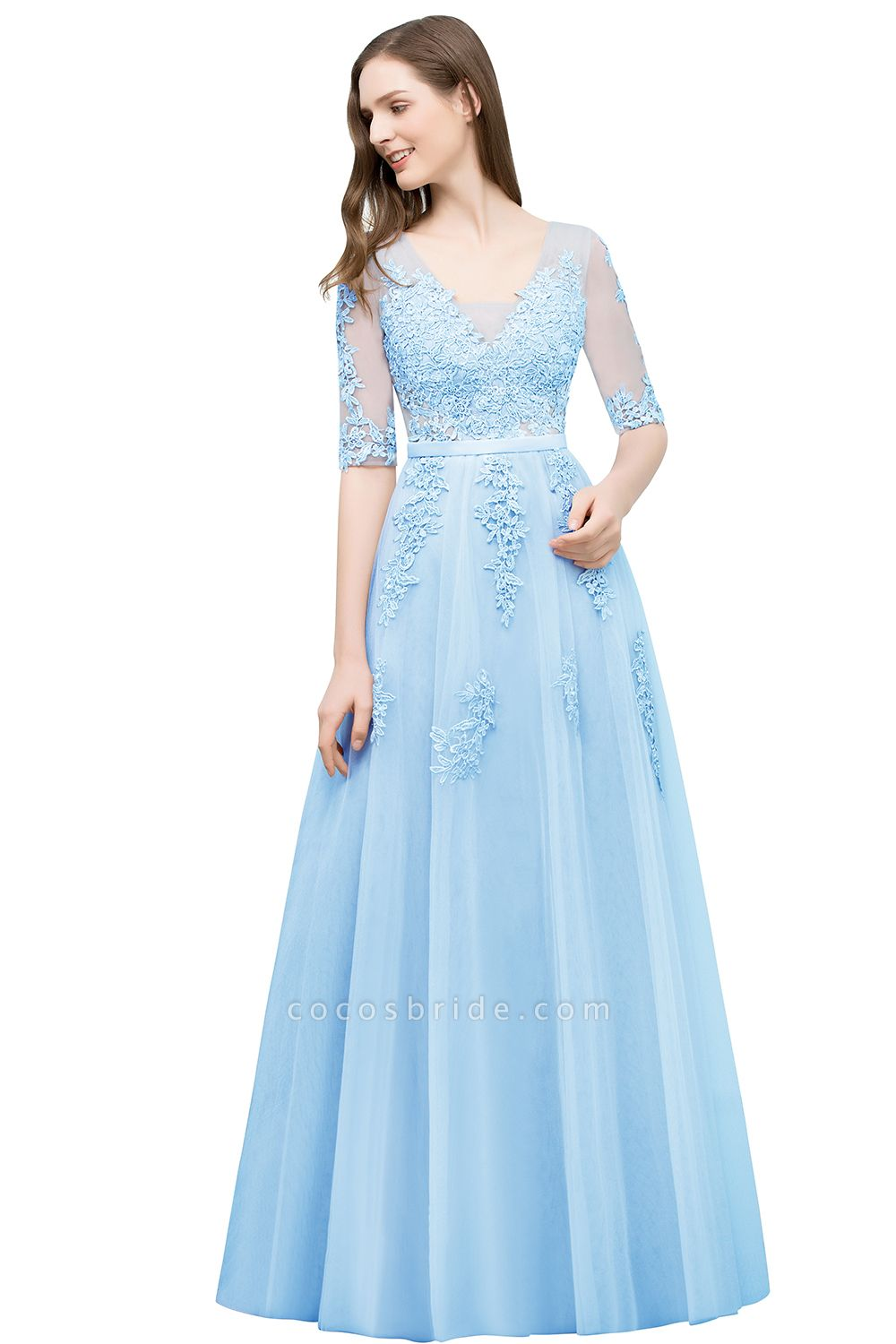 Glorious V-neck Tulle A-line Evening Dress