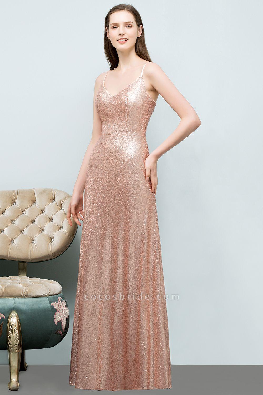 A-line Sequined V-Neck Spaghetti-Straps Sleeveless Floor-Length Bridesmaid Dress