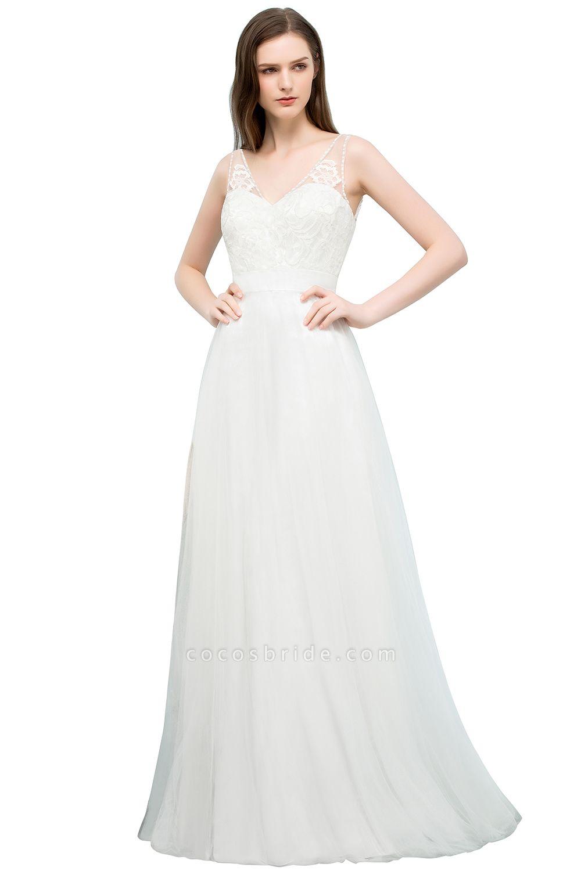 Fabulous V-neck Tulle A-line Evening Dress
