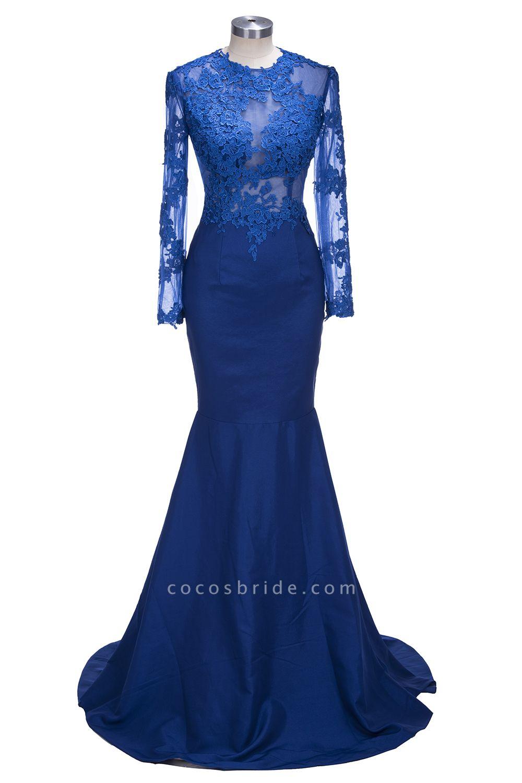 VICKIE | Mermaid Floor Length Illusion Top Long Sleeves Lace Prom Dresses