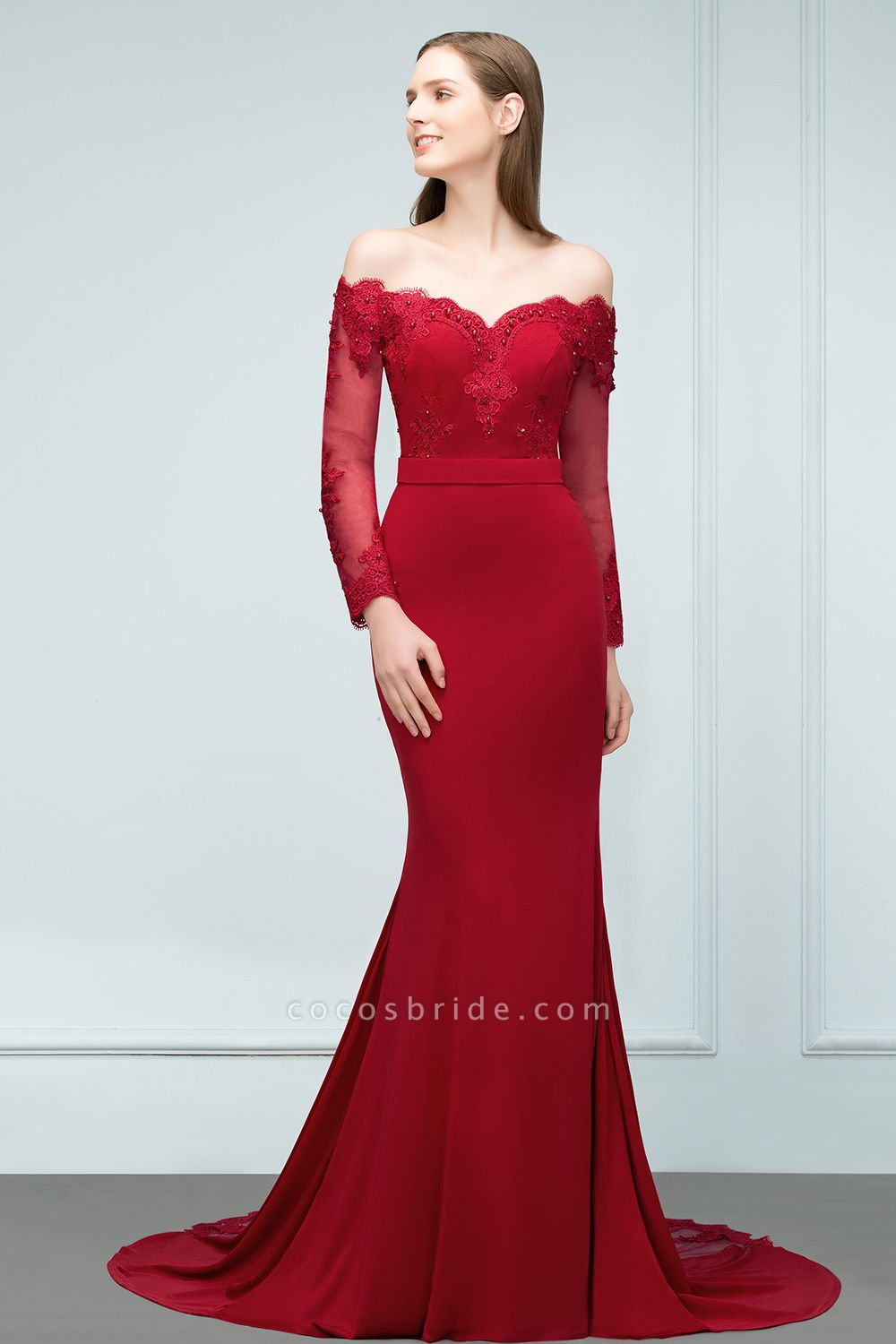 Attractive Off-the-shoulder Satin Mermaid Evening Dress