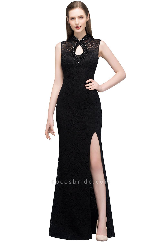 Modest High Neck Lace Mermaid Evening Dress