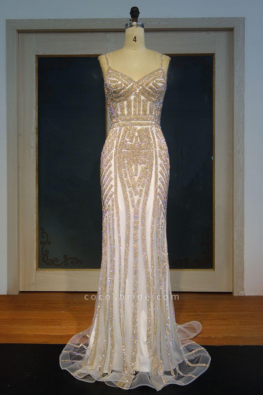 JAYLEEN | Mermaid Sweetheart Long Spaghetti Champagne Sequined Prom Dresses