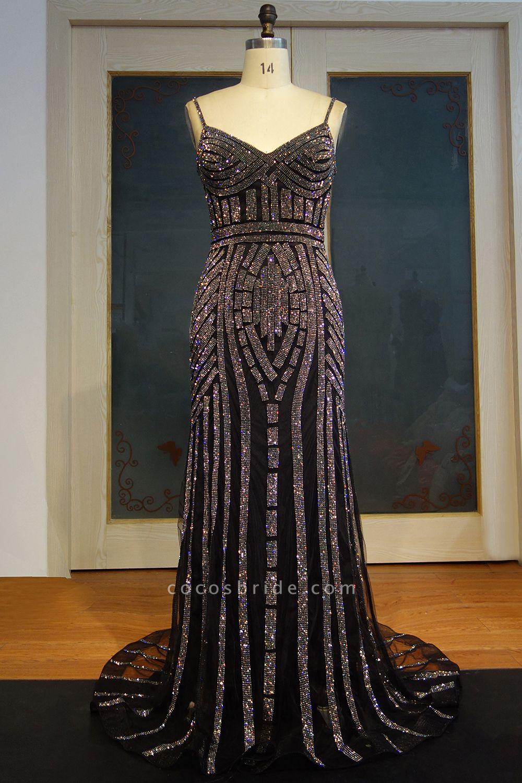 JAYLEE   Sheath Spaghetti Sweetheart Floor Length Sequined Patterns Prom Dresses