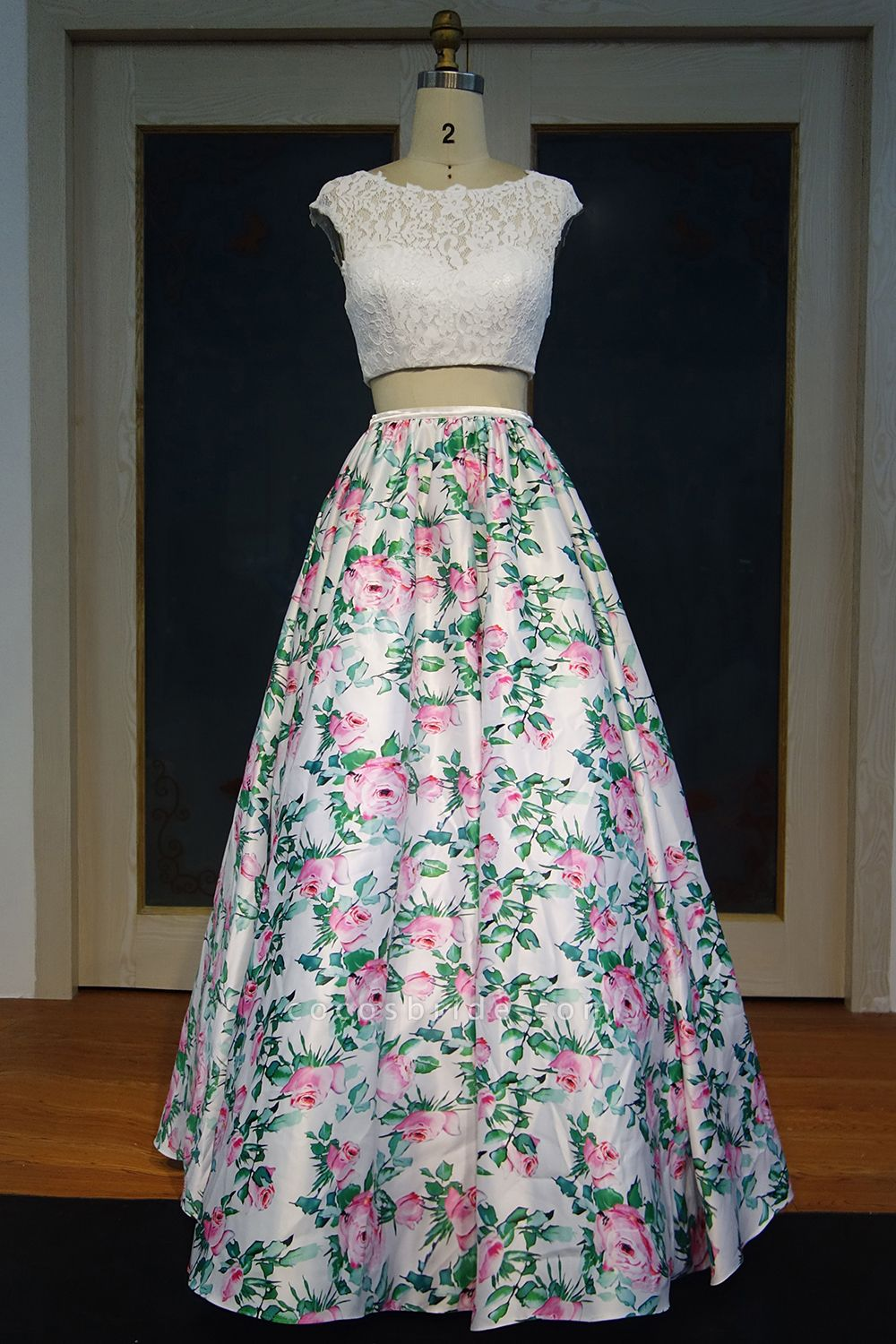 JAYLYNN   A-line Two-piece Cap Sleeves Lace Top Printed Flowers Prom Dresses