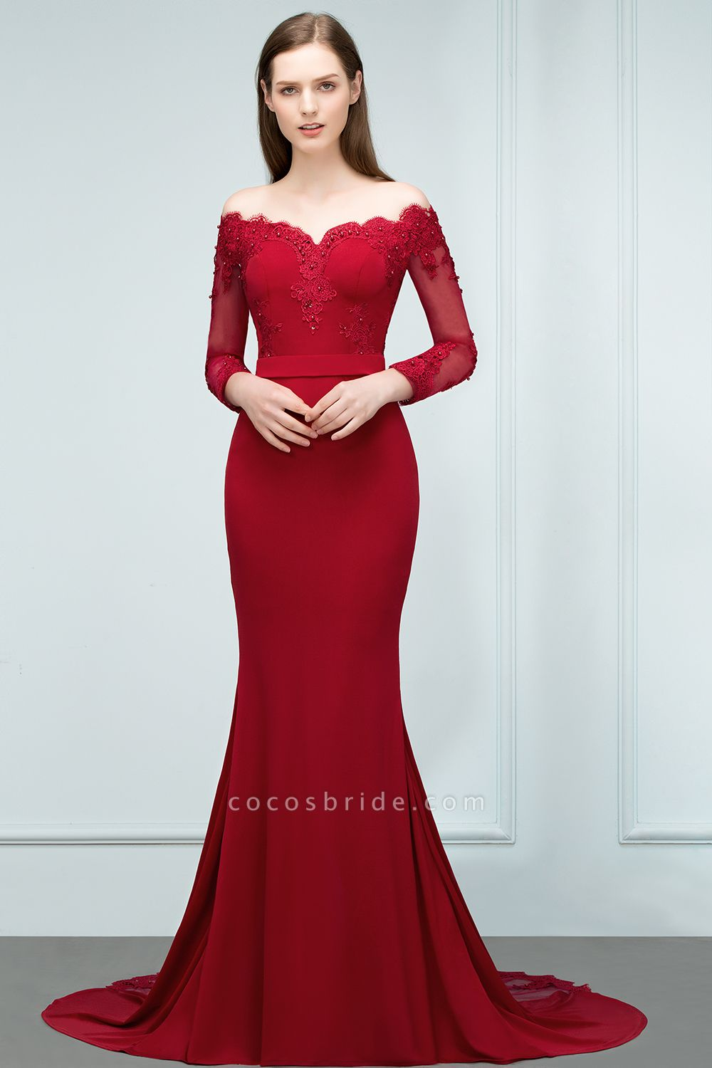 Mermaid Charmeuse Off-the-Shoulder V-Neck Long-Sleeves Floor-Length Bridesmaid Dress with Appliques