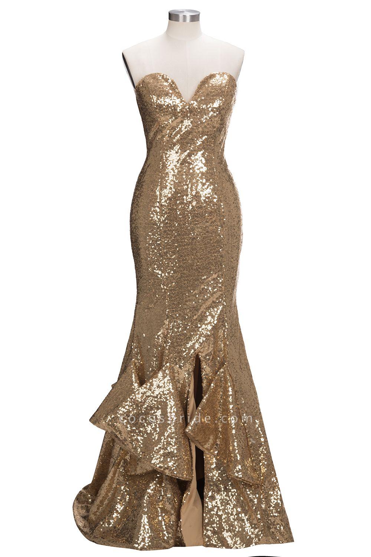VESTA | Mermaid Sweetheart Strapless Long Split Sequins Prom Dresses