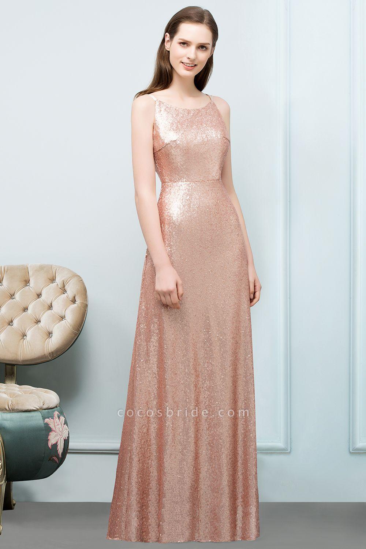 A-line Sequined Scoop Sleeveless Floor-Length Bridesmaid Dresses