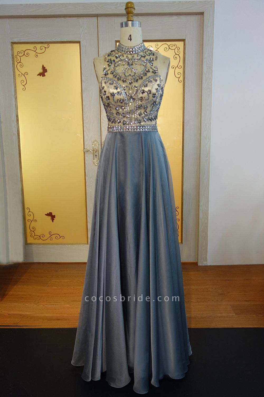 JESSICA   A-line Halter Floor Length Crystal Beading Chiffon Prom Dresses