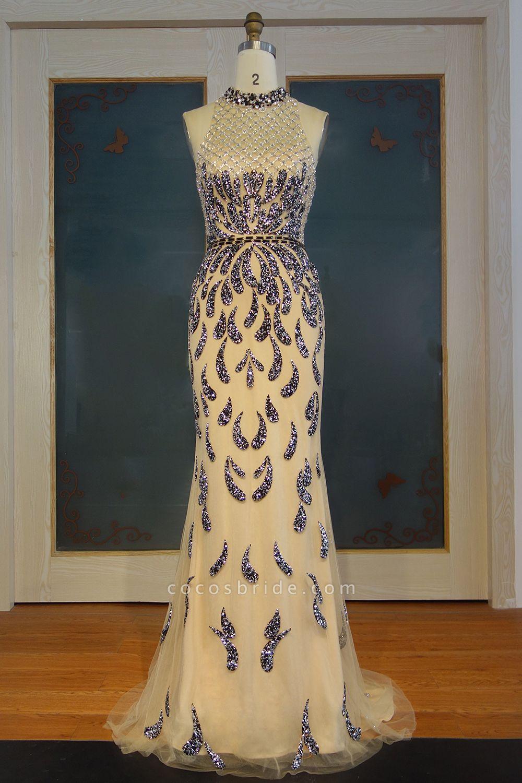 JIMENA | Mermaid Halter Floor Length Sequined Patterns Prom Dresses