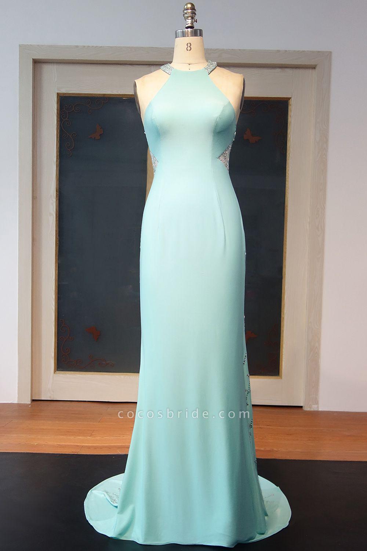 JOHANNA | Sheath Halter Floor Length Sequined Back Prom Dresses