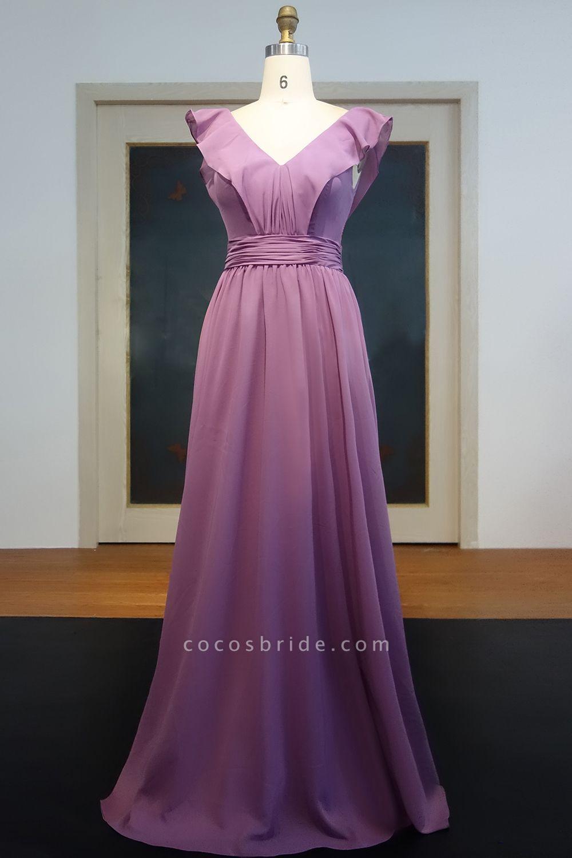 JOANNA | A-line V-neck Sleeveless Floor Length Ruffled Chiffon Prom Dresses