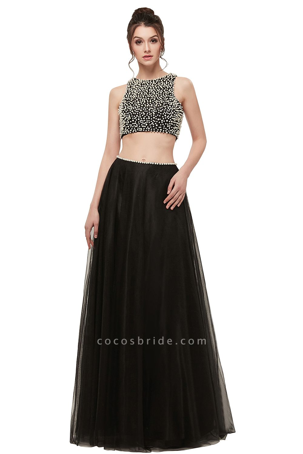 Wonderful Jewel Tulle Two Pieces Evening Dress