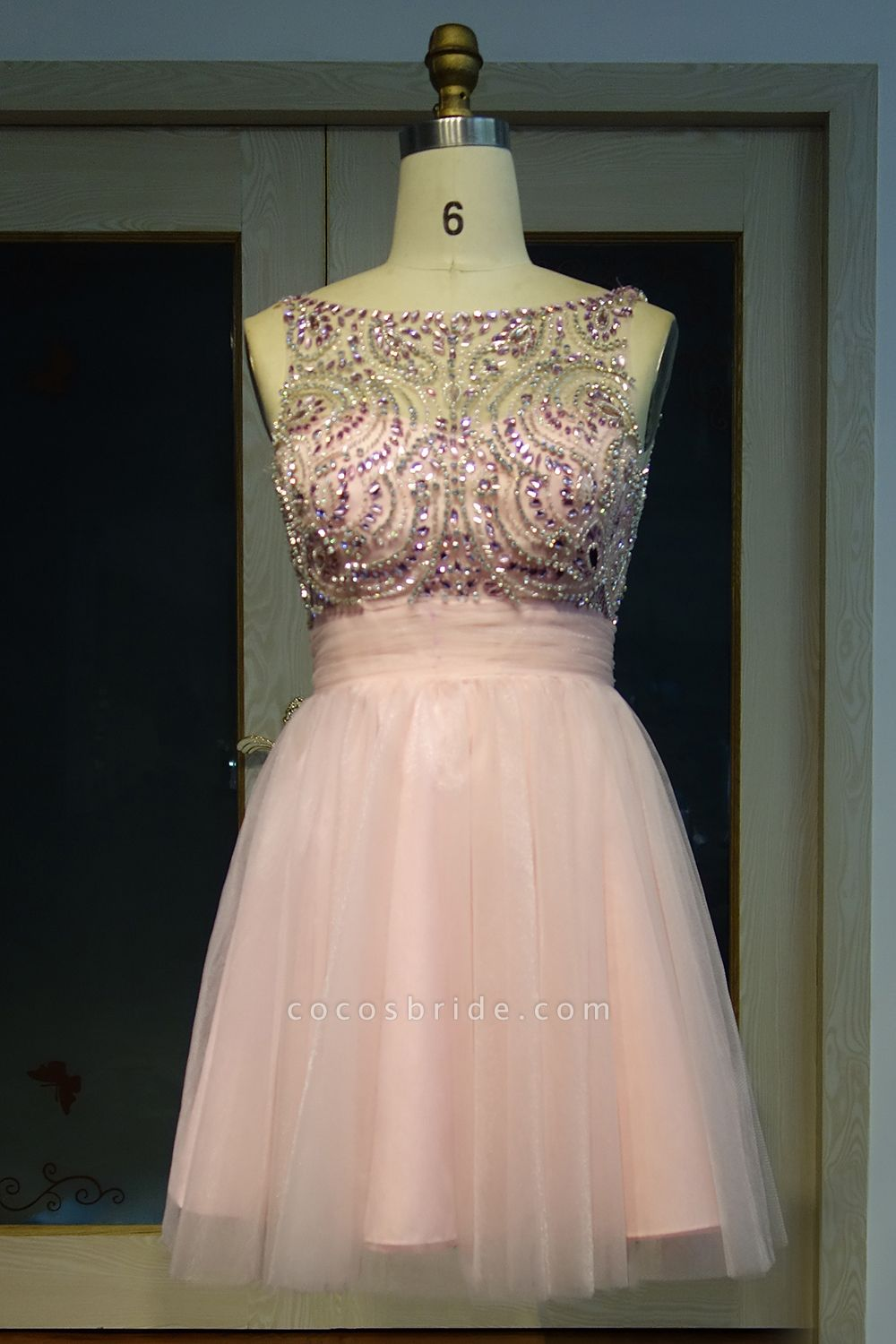 JAZMINE | A-line Short Scoop Sleeveless Pink Crystal Beading Prom Dresses