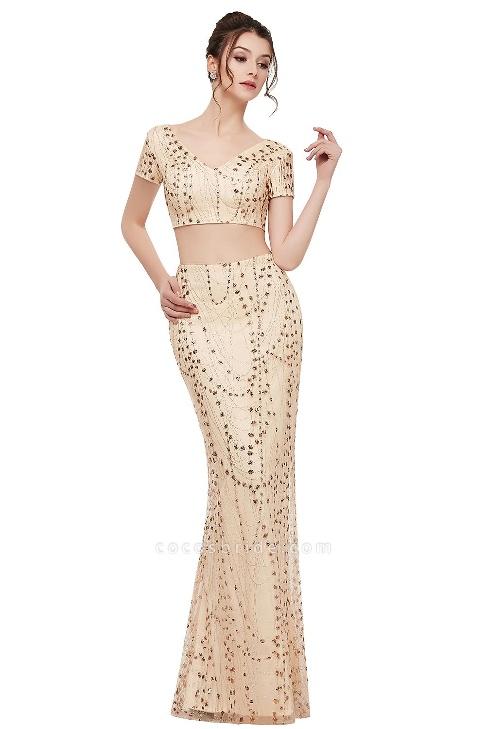 ZANDRA | Mermaid Two-piece V-neck Floor Length Short Sleeves Champagne Prom Dresses with Sequins