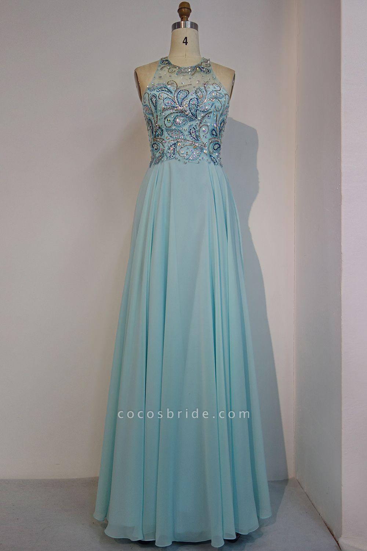 JENNIFER   A-line Sleeveless Crew Long Crystal Beading Chiffon Prom Dresses