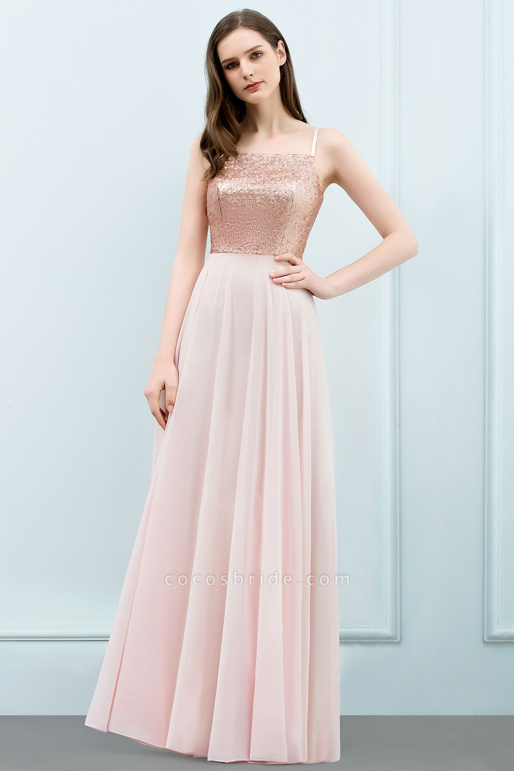 A-line Chiffon Sequined Spaghetti Straps Sleeveless Floor-Length Bridesmaid Dress