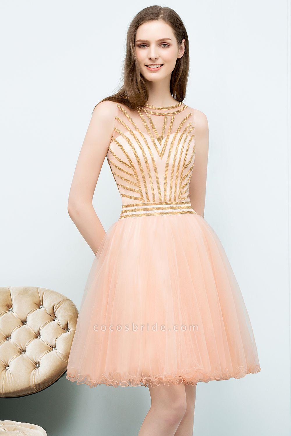 Exquisite Jewel Tulle A-line Homecoming Dress