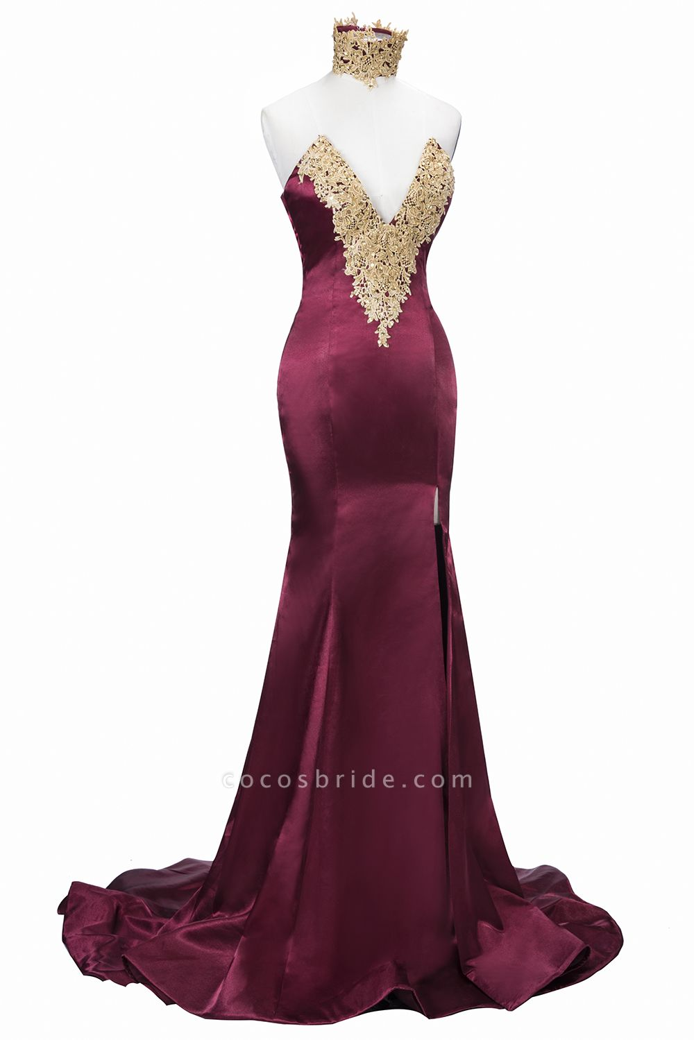 THERESIA | Mermaid High Neck Front-Split Burgundy Lace Appliques Prom Dresses