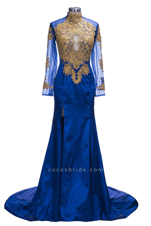 SAL   Mermaid Long Sleeves Front Split Appliques Prom Dresses