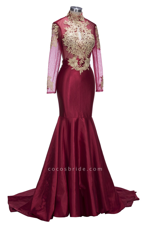 THELMA   Mermaid High Neck Long Sleeves Floor Length Appliqued Prom Dresses