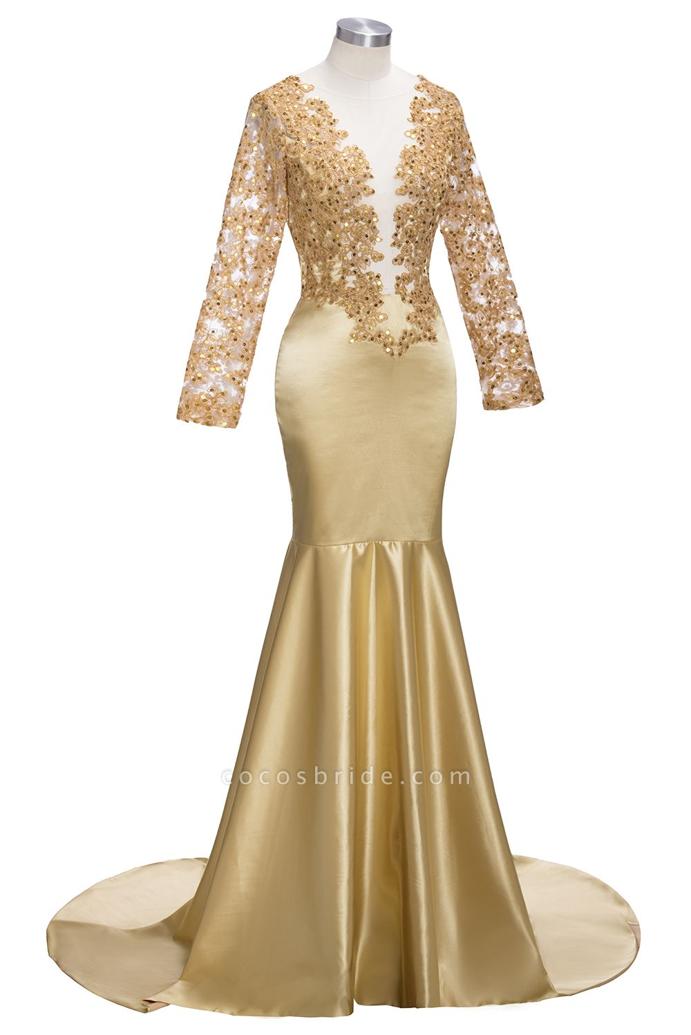 THEODORA | Mermaid Long Sleeves Lace Appliques Sequins Prom Dresses