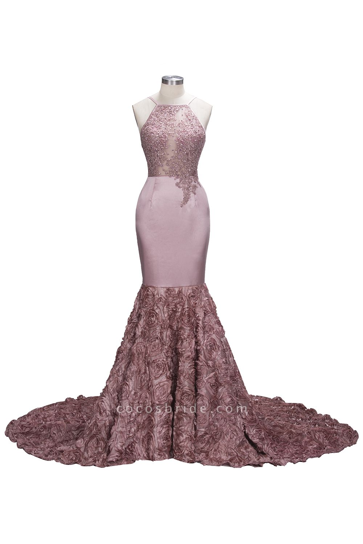SALOME   Mermaid Long Spaghetti Rose Flowers Pink Beaded Prom Dresses