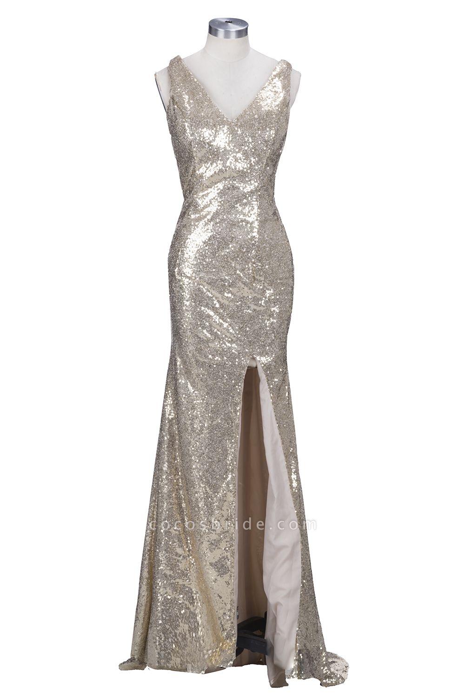 VIOLA   Sheath V-neck Long Split Sequined Champagne Prom Dresses