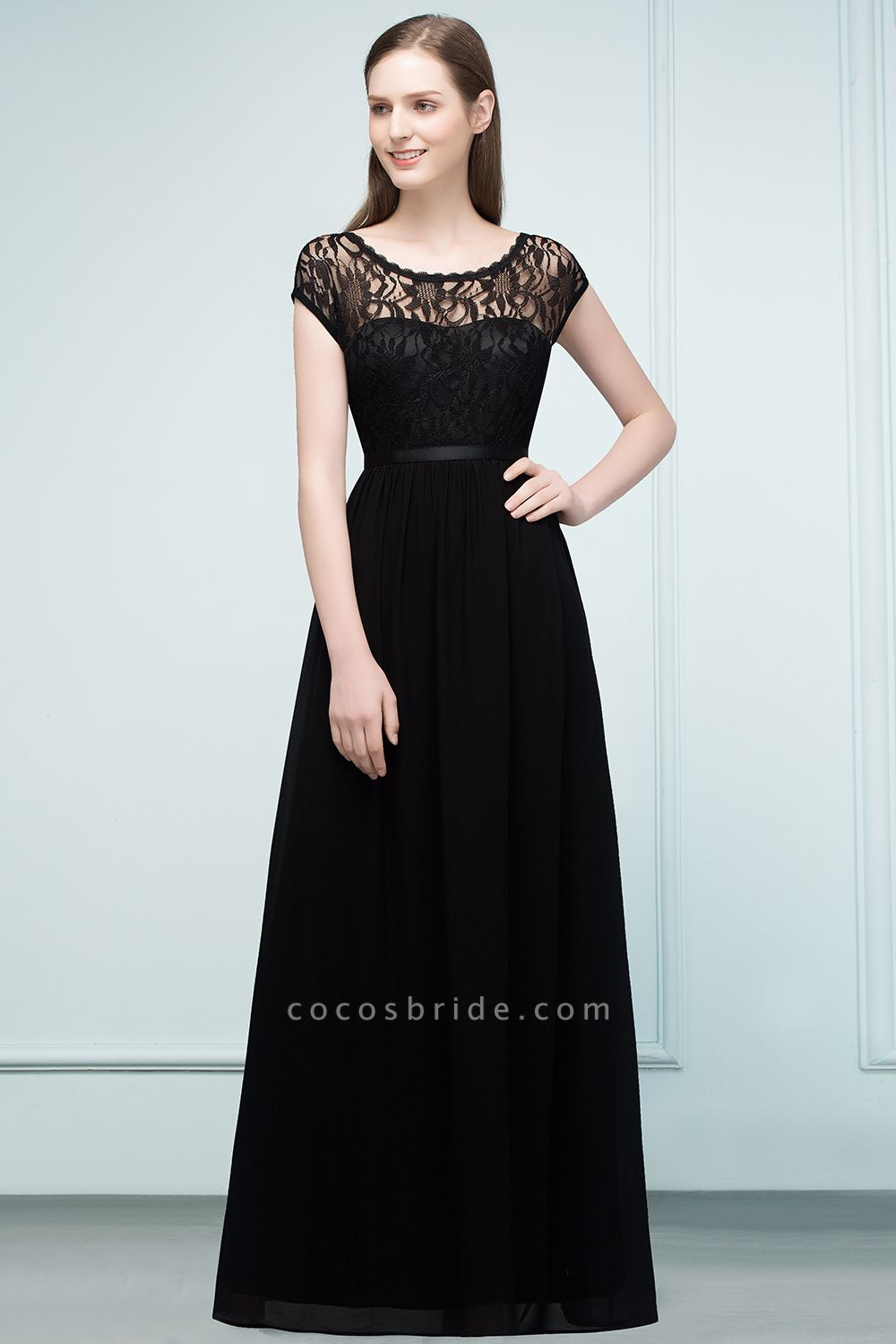 A-Line Chiffon Lace Jewel Short-Sleeves Floor-Length Bridesmaid Dresses with Sash