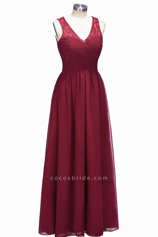 TONI | A-line V-neck Sleeveless Lace Ruffled Chiffon Prom Dresses