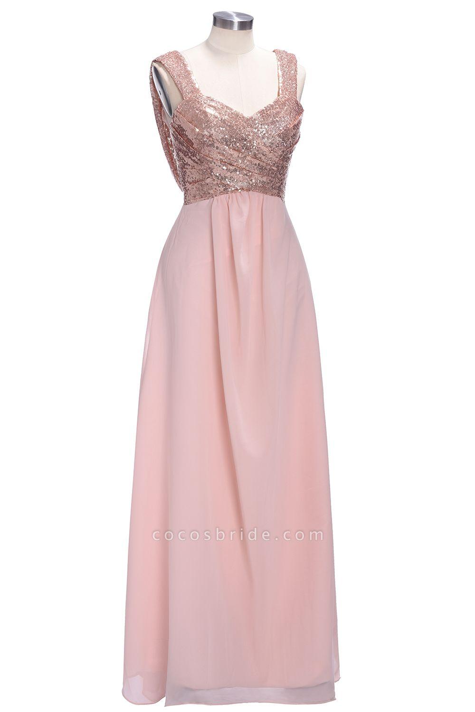 TESSIE | A-line Sweetheart Sleeveless Long Sequins Chiffon Prom Dresses