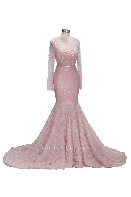 TATUM | Mermaid Long Sleeves Appliques Prom Dress with Pink Beadings