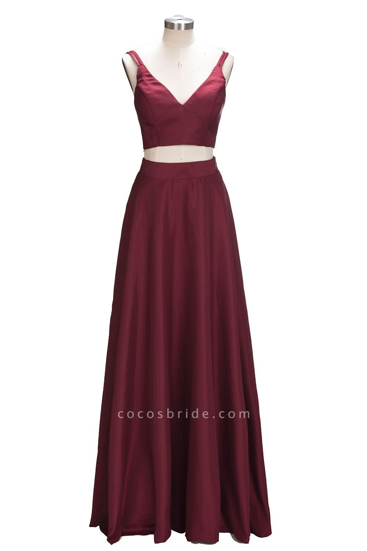 THOMASINA | A-line Sleeveless Two-Piece Spaghetti Straps Burgundy Prom Dresses