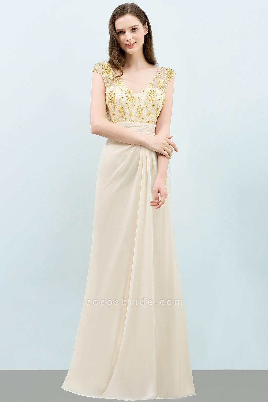 Attractive V-neck Chiffon A-line Evening Dress