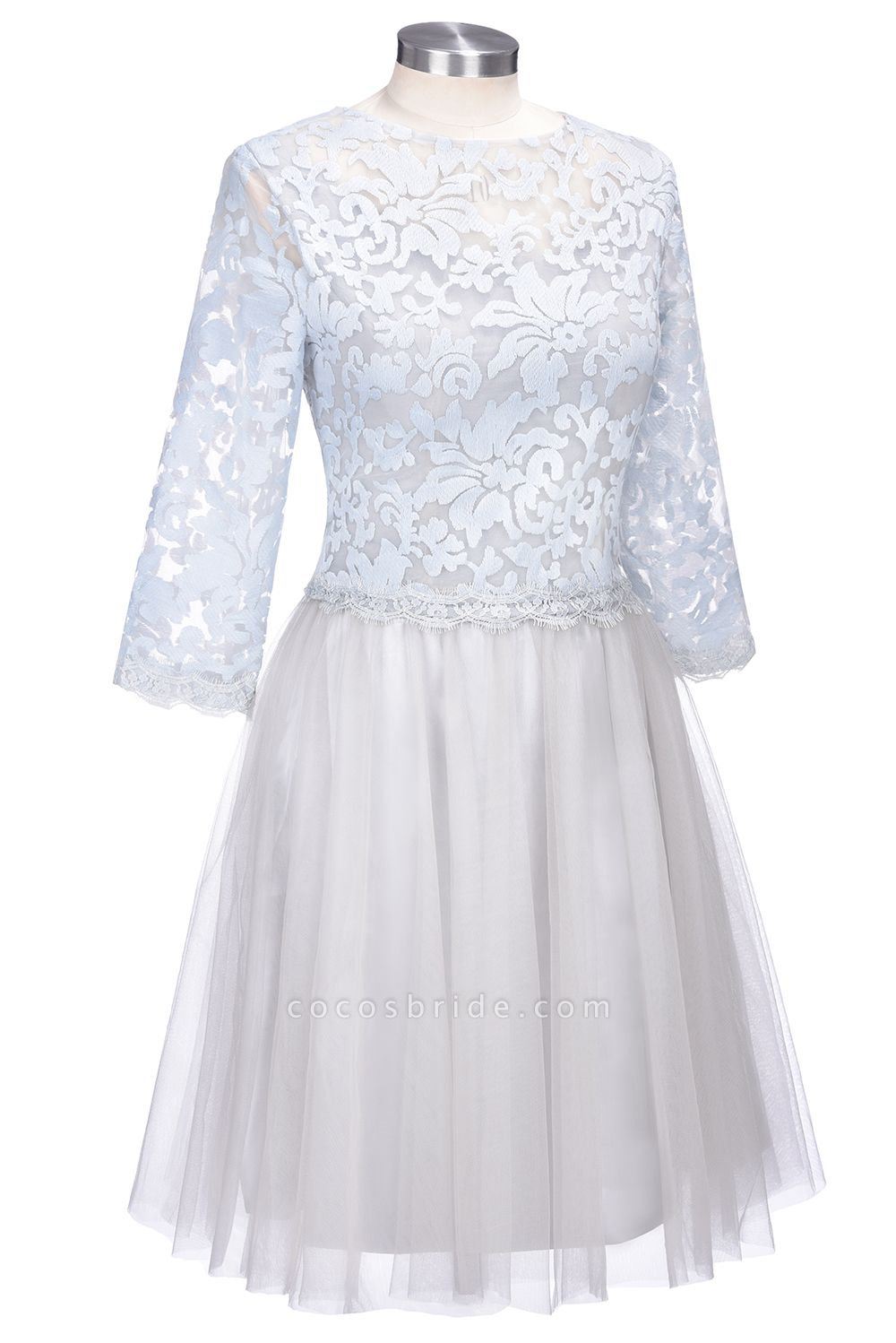 THEA   A-line Long Sleeves Short Lace Appliques Tulle Prom Dresses