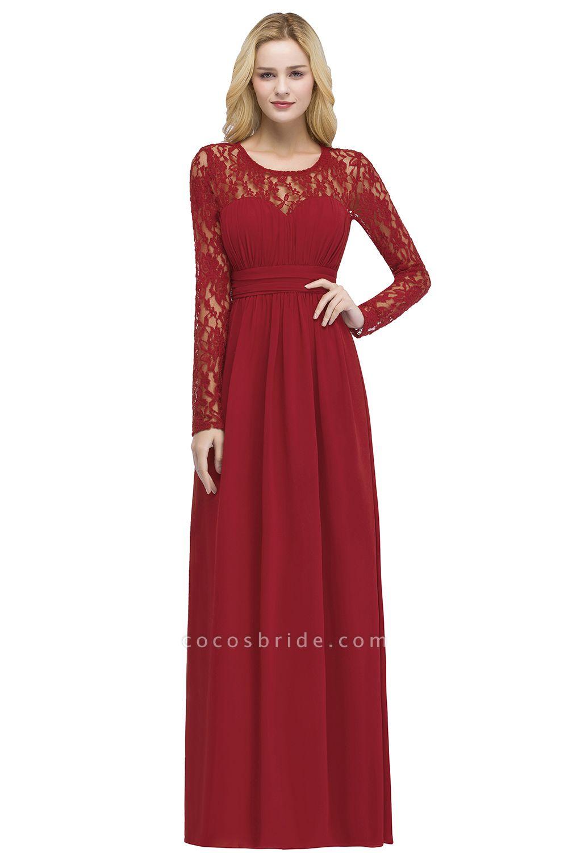 ROSALIE   A-line Floor Length Long Sleeves Lace Chiffon Bridesmaid Dresses