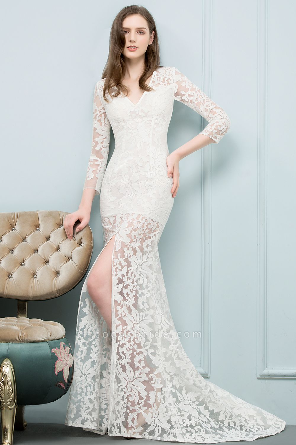 Best V-neck Lace Mermaid Evening Dress