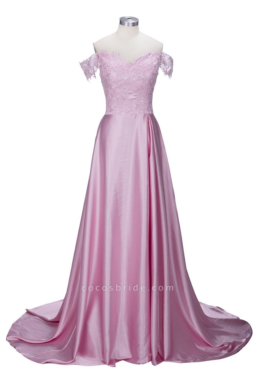 THERESA | A-line Floor Length Split Off-the-Shoulder Lace Prom Dresses