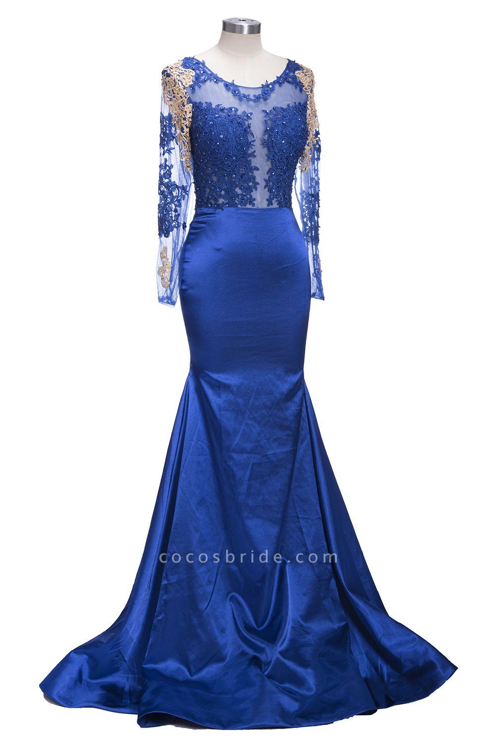 SARAH | Mermaid Long Sleeves Gold-Appliques Sheer Navy Blue Prom Dresses