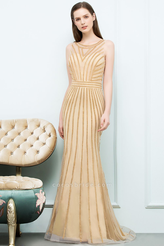 Graceful Jewel Tulle Mermaid Evening Dress