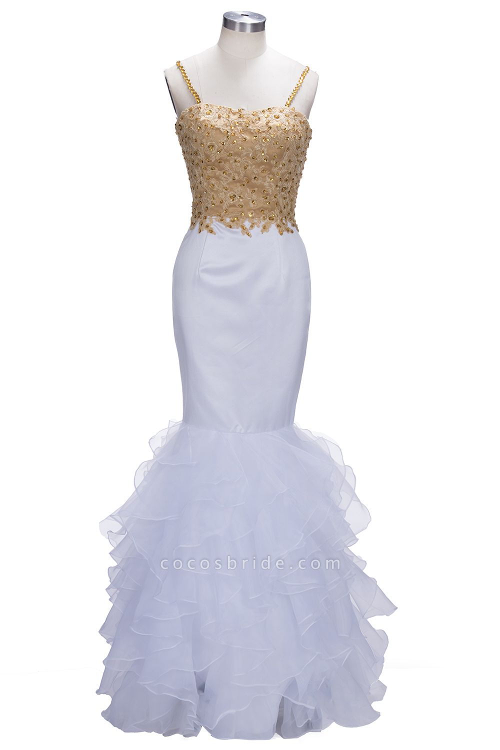 THALIA | Mermaid Spaghetti Sweetheart Long Tulle Prom Dresses with Crystals