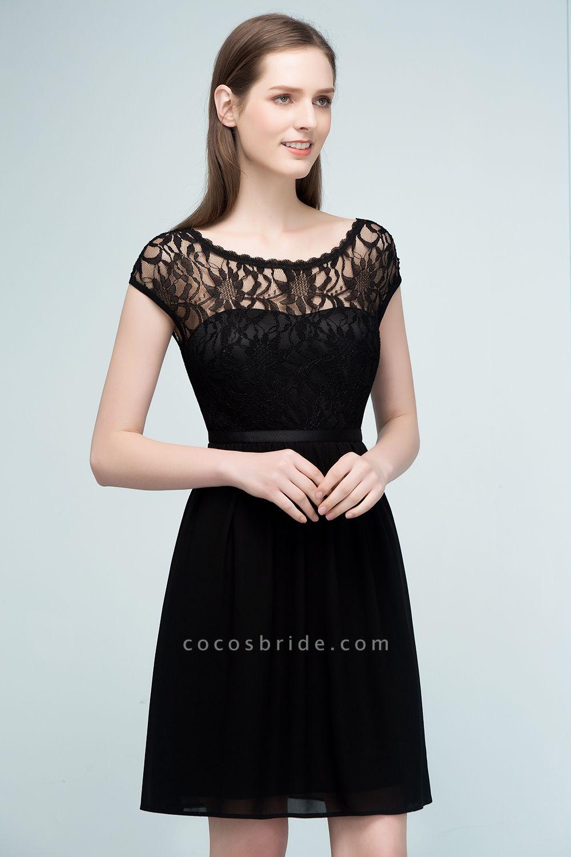 A-Line Chiffon Lace Scoop Sleeveless Knee-Length Bridesmaid Dresses