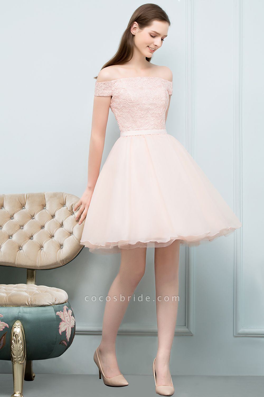 Modest Off-the-shoulder Tulle A-line Homecoming Dress