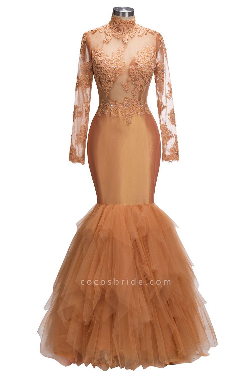 SELENA   Mermaid High Neck Long Appliques Sheer Prom Dresses